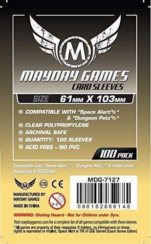 "100 Mayday 61 x 103 Magnum ""Space Alert"" & ""Dungeon Petz"" Board Game Sleeves"