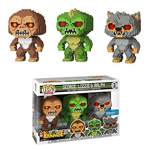 3 Figurines Funko Pop! Rampage: 8-Bit George, Lizzie, Ralph - Exclusive