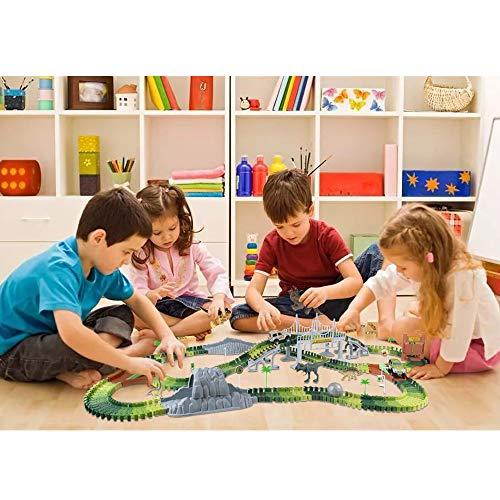 Coches de Dinosaurios Juguetes-264 Piezas Flexibles Circuito de Aventuras Incluyen 8 Figuras de Juego de Dinosaurios 2 Vehículo para Niños 3 4 5 6 Años