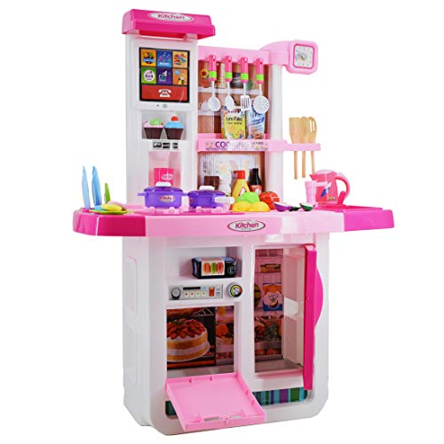 """deAO Cocinita """"Mi Pequeño Chef"""" con Características de Sonidos, Panel Táctil y Agua Más de 40 Accesorios Incluidos (Rosa) , color/modelo surtido"""