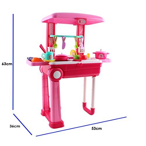 deAO Pequeño Chef Set de Cocinita Plegable en Maleta Convertible Maletín de Juegos con Accesorios, Luces, Sonidos (Rosa) , color/modelo surtido