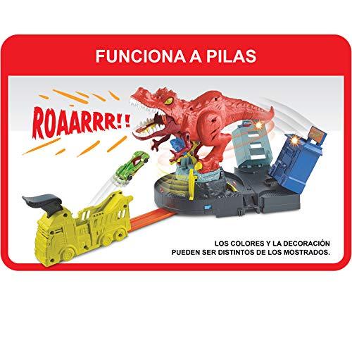 Hot Wheels City Alboroto del dinosaurio T-Rex, pistas de coches de juguete (Mattel GFH88)