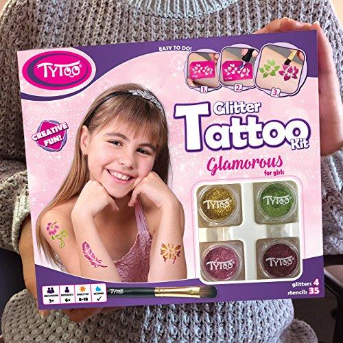 Kit de Tatuajes con Purpurina, Tatuajes temporales Tatuajes con Brillantina para Chicas con 35 Plantillas, Uso Seguro, duración de 8-18 días