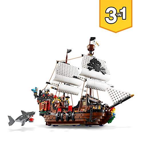 LEGO Creator - Barco Pirata, juguete de piratas de construcción para niños y niñas a partir de 9 años, set 3 en 1 con Barco de juguete, taberna pirata, isla Calavera, minifiguras de piratas (31109)