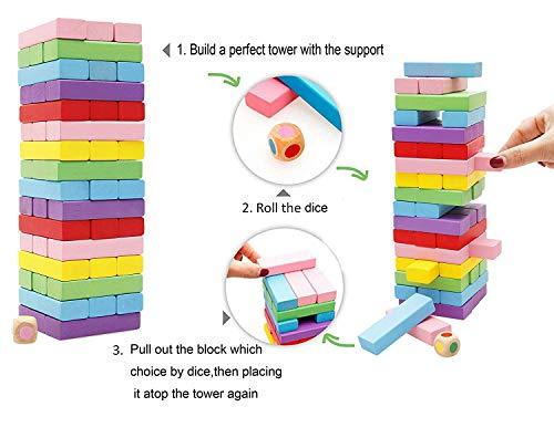 Lewo 48 Piezas Torre de Madera Block Colores Juegos de construcción