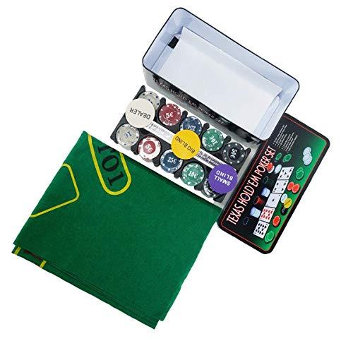 LEYENDAS CROWN Set de póker Caja de Metal, 200 fichas de póker, 2 Cubiertas, botón de repartidor, ciega pequeña, Gran ciega, tapete de Juego (B)