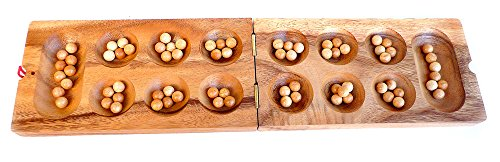 LOGICA GIOCHI Art. Kalaha - Mancala - Juego de Mesa de Madera Preciosa - Juego de Estrategia para 2 Jugadores - Version de Viaje