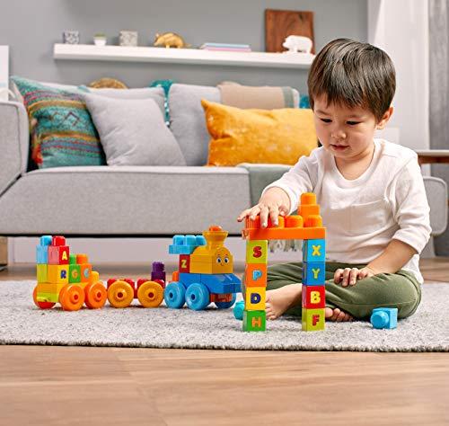 Mega Bloks Tren musical ABC, juguete de construcción para bebé + 1 año (Mattel FWK22)