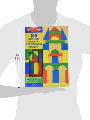 Melissa & Doug Piece Wood Blocks Set Bloques de Madera 100 Piezas, Color Azul, Verde, Rojo, Amarillo (10481)
