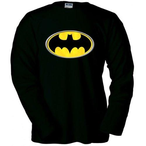 Mx Games Camiseta Logo Batman Manga Larga (Reliev) (Talla: Talla XL Unisex Ancho/Largo [58cm/76cm] Aprox)