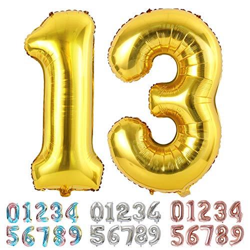 Ponmoo Foil Globo Número 13 31 Dorado, Gigante Numeros 0 1 2 3 4 5 6 7 8 9 10-19 20-29 30 40 50 60 70 80 90 100, Grande Globos para La Boda Aniversario, Globo de Cumpleaños Fiesta Decoración