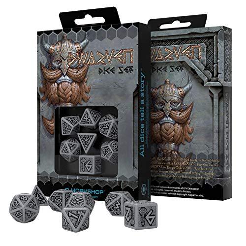 Q Workshop Dwarven Gray & Black RPG Ornamented Dice Set 7 Polyhedral Pieces
