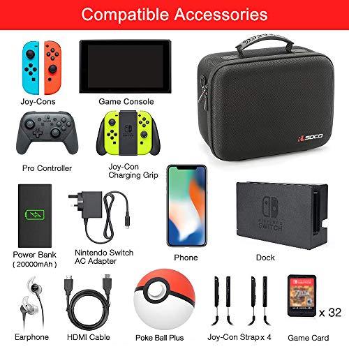 RLSOCO Funda de Transporte para Nintendo Switch, Switch Consola, Base de Conmutador, Adaptador de Alimentación, Joy-con Grip, Pro Controller y 21 Cartuchos de Juego