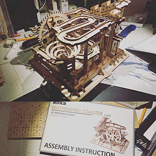 ROKR Puzzle 3D Madera Maquetas para Montar Modelo mecánico Kit de construcción con Bolas para Adolescentes y Adultos (Waterwheel Coaster)