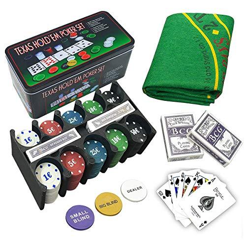Set de póker caja de metal, 200 fichas de póker, 2 cubiertas, botón de repartidor, ciega pequeña, gran ciega, tapete de juego