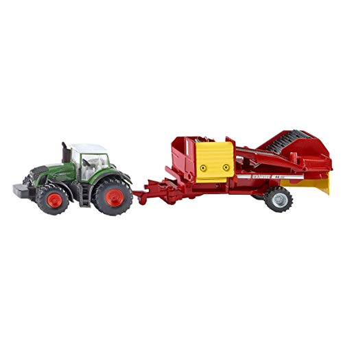 Siku 1808 - Tractor con  excavaciones, Auto y Modelos de tráfico, Verde/Rojo