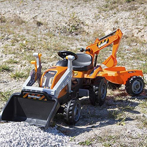 Smoby 710110 Builder Max Tractor a pedales con pala, excavadora y remolque, Negro/Gris/Naranja