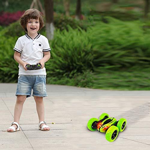Stunt Coche Teledirigido Anfibio Coche de Control Remoto 2.4GHz Stunt RC Juguetes Radio Control Remoto de Coche Carrera Rotación 360° Doble Lado Flexibles para Niños/Adultos Baterías Incluidas
