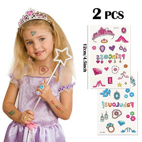 Tacobear 50 Piezas Disfraz Princesa Niña con Tiara Princesa Corona Princesa Tatuajes Anillos Varita Mágica Disfraces Princesas Vestido Accesorios Set Regalos Fiesta Cumpleaños para Niñas Niños (Rosa)