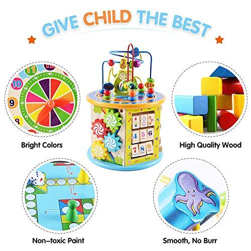Ulmisfee Centro de Actividades de Madera 8 en 1 Juguetes de Aprendizaje para Niños de 1 Años Laberinto de Bolas Juguete Educativo para Niños Niñas Regalo para Sus Niños