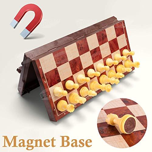 UNEEDE Tablero Ajedrez Magnetico,2 EN 1 Ajedrez y Damas en Estuche con portátil de Tablero Plegable para niños y Adultos(32*32cm