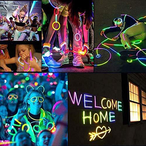 Vicloon Barras Luminosas, Pulseras Luminosas con Conectores, Kits para Crear Pulseras y Collares, Carnaval Festividad Fiestas Disfraces.(100pcs)