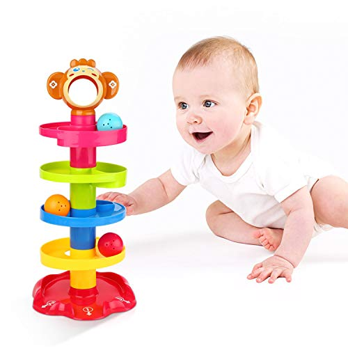 YGJT Juguete de Niño 1 año Niña Niño Juguete de Construcción de Pista de Bola Centro de Actividades Divertidas Interactivo Regalo de Cumpleaños por 1-3 años (Juguete Mono) (Mono)
