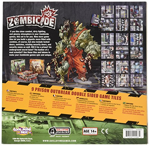 Zombicide: 9 Prison Outbreak Game Tiles - Juego de Mesa (CoolMiniOrNotInc. GUG0021) (versión en inglés)