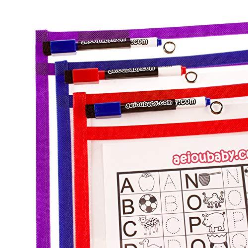 10 Dry Erase Pocket   Fundas Reutilizables Fichas Papel A4  Tamaño Grande 36x26cm  PET Reciclable Ecológico  10 Colores,10 Rotuladores,2 Borradores,2Globos Material Escolar,Colegio,Guardería,Ludoteca