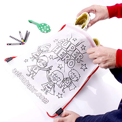 aeioubaby.com 25 Mochilas para Colorear + 1 Bolsa Reutilizable | 25 Bolsas Individuales con 5 Ceras de Colores y Globo | Regalo niños Fiestas y cumpleaños