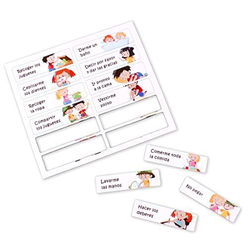 aeioubaby.com Tabla RECOMPENSAS Magnética Grande | Pizarra de tareas para Pared o Frigorífico, 43x32cm. 12 Actividades, 2 rotuladores y 1 Globo | Presentación Caja niños y cumpleaños