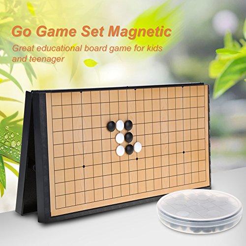Alomejor Go Game Set Juego de Viaje magnético Plegable para niños Weiqi Educational Go Go Travel Travel Set para niños