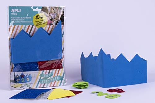 APLI Kids- EVA Corona cumpleaños goma, Color azul, talla única (14478)
