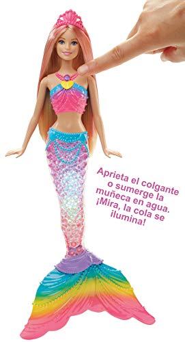 Barbie Dreamtopia, muñeca Sirena Luces de Arcoíris, regalo para niñas y niños 3-9 años (Mattel DHC40) , color/modelo surtido