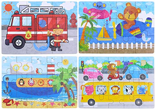 BBLIKE Jigsaw Wooden Puzzles Toy in a Box for Kids, Pack of 4 with Varying Degree of Difficulty Educational Learning Tool Best Birthday Present for Boys Girls (Serie Transporte)