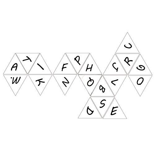 bescon alfabeto dados 20caras A-T mayúsculas, 20partes letra dados, 3piezas Set