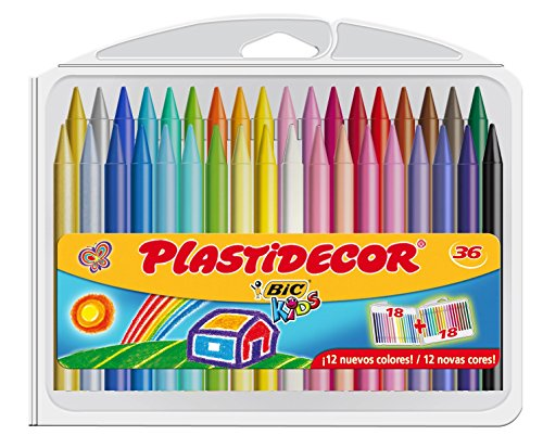 BIC Kids Plastidecor - Estuche de 36 unidades, ceras de colores surtidos