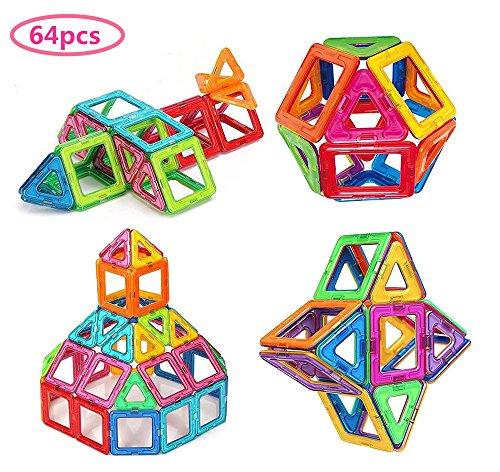 Bloques de construcción de Bloques magnéticos de 64 Piezas Juegos educativos para niños, de Morcare Construction Building Sets (64 pcs)