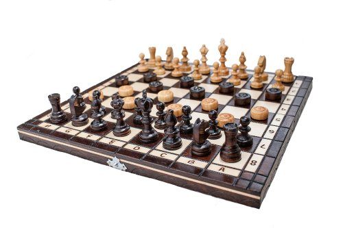 Brand New Hand Crafted Cherry Wooden Chess And Draughts Set 35cm x 35cm