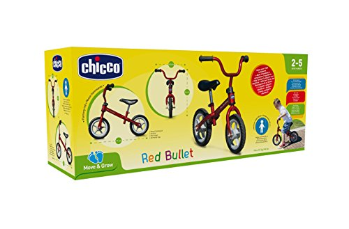Chicco First Bike - Bicicleta sin pedales con sillín regulable, color rojo, 2-5 años