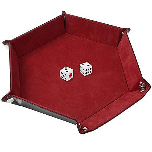Cizen Bandeja de Dados, Tablero de Dados de Doble Cara, Caja de Almacenamiento Hexagonal de Terciopelo para RPG, DND Otros Juegos de Mesa y Almacenaje(Rojo)