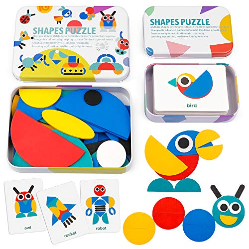 Coogam De Madera Modelo Bloques - Tangram Shape Puzzle Set Juego de apilamiento Madera Animal Rompecabezas Preescolar Montessori Brain Teaser Regalo Stem (60 Tarjetas de Patrones)