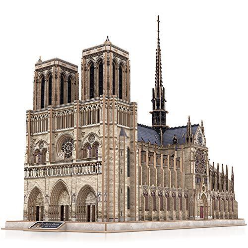 CubicFun Puzzle 3D Francia Notre Dame de Paris Modelo de Arquitectura Kits de Construcción con Estructura Interna Lglesia Gótica Rompecabezas 3D Regalo para Adultos, 293 Piezas