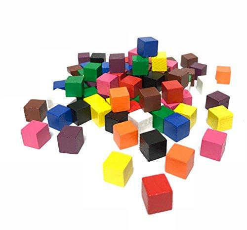 Cubos de madera 10 x 10 x 10 mm, 100 unidades, varios colores