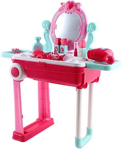 deAO Centro de Belleza Set Mesita Tocador Plegable en Maleta Convertible Maletín de Juegos con Accesorios, Luces, Sonidos
