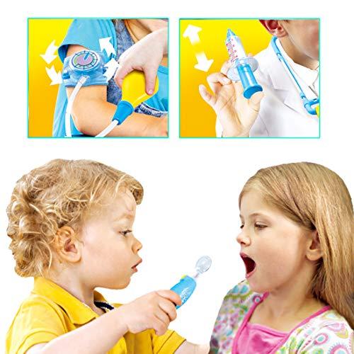 deAO Maletín de Doctor y Dentista Conjunto 2en1 Doctor y Enfermería Clínica Dental Juego para Niños y Niñas Incluye 17 Accesorios Luces y Sonidos (Rosa)