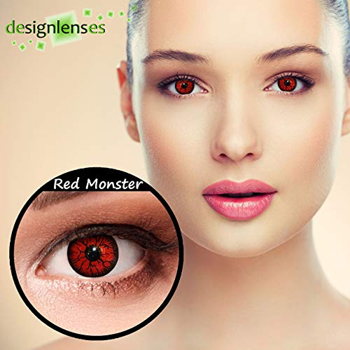 "Designlenses, Dos lentillas de color rojo para Halloween monstruo disfraz lentillas sin dioprtías / corregir + gratis caso de lente ""Red Monster"""
