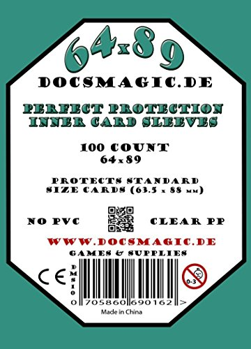 docsmagic.de 1.000 Protection Inner Card Sleeves Clear - 63,5 x 88 10 Packs - Standard Size 64 x 89