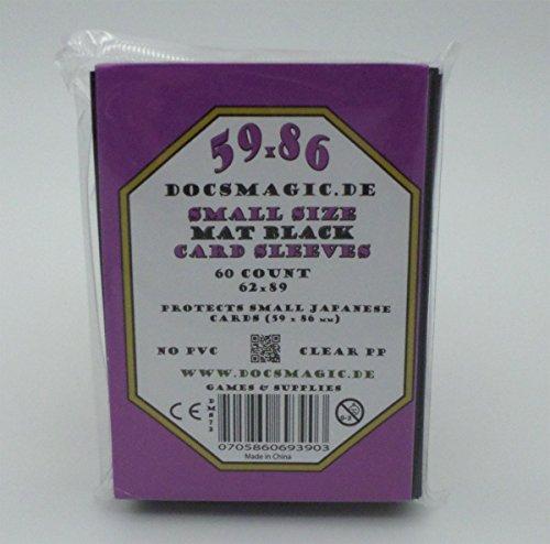 docsmagic.de Deck Box + 60 Mat Black Sleeves Small Size - Caja & Fundas Negra - YGO