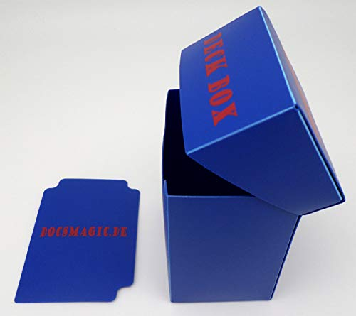 docsmagic.de Deck Box + 60 Mat Blue Sleeves Small Size - Mini Caja & Fundas Azul - YGO